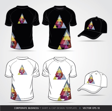 ポロ: コーポレート ・ アイデンティティのビジネスのセット。T シャツとキャップのデザイン テンプレートベクトル イラスト。  イラスト・ベクター素材