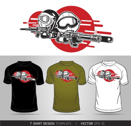 unisex: Cartoon Boy and Girl play Airsoft Guns Vector. T-shirt design Illustration