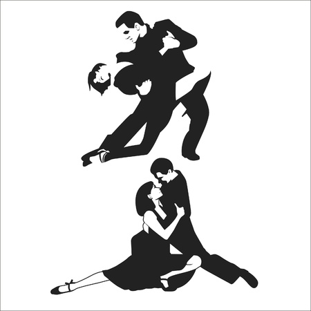 theatrical dance: Tango Dancers. Vector illustration