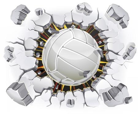 mur platre: Volley-ball et le Vieux-l�sions de la paroi en pl�tre. Vector illustration Illustration