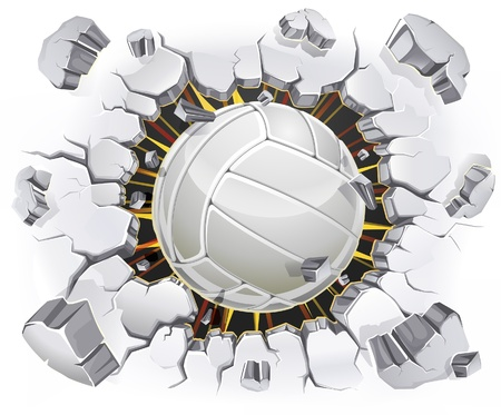 punch holes: Volleyball and Old Plaster wall damage. Vector illustration