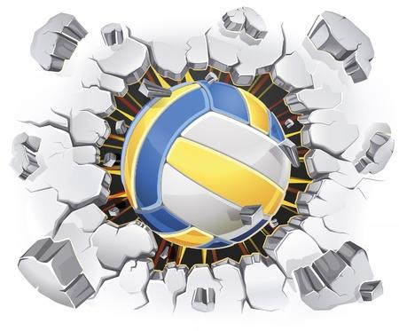 pelota de voley: Voleibol y el daño Antiguo yeso de la pared. Ilustración vectorial
