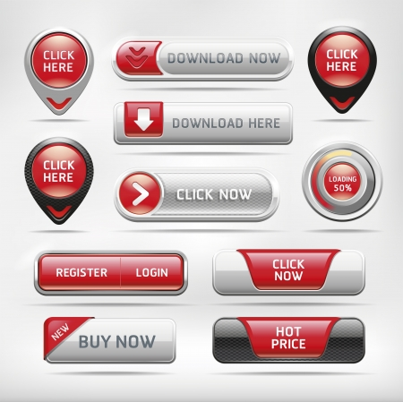 push button: Red Glossy Web Elements Button Set. Vector illustration Illustration