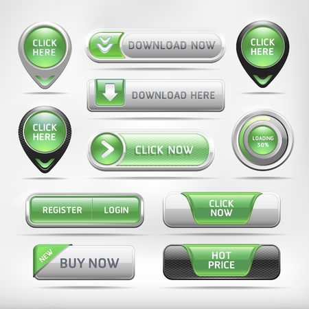 push button: Green Glossy Web Elements Button Set. Vector illustration