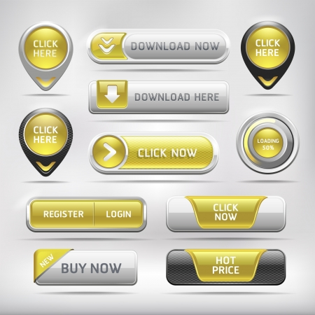 Yellow Glossy Web Elements Button Set. Vector illustration Vector
