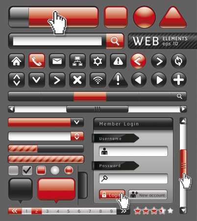 scrollbar: Blank buttons for website and app. Vector illustration