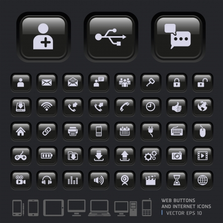 Blank buttons and Internet Icons for Web, Applications and Tablet Mobile Vector illustration