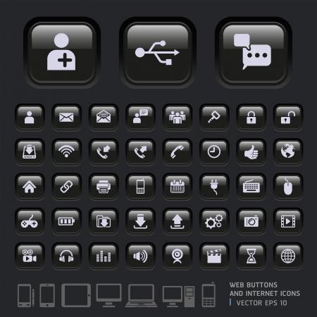 Lege knoppen en Internet Pictogrammen voor Web, Toepassingen en Tablet Mobile Vector illustratie