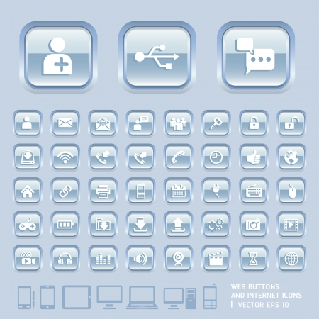interface menu tool: Blue Glass Buttons and Internet Icons for Web, Applications and Tablet Mobile  Vector illustration