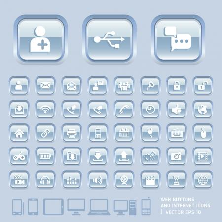 interface menu tool: Bottoni di vetro blu e Internet Icone per Web, applicazioni e Tablet mobile Vector illustration