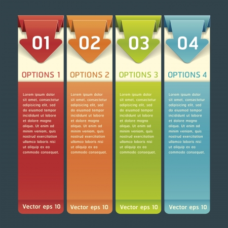 option: Colorful Origami Style Number Options Banner Card Vector illustration Illustration