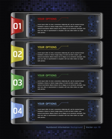 tabs: Colorful Buttons Website Style Number Options Banner   Card Background  Vector illustration