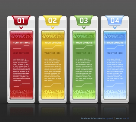 Colorful Buttons Website Style Number Options Banner   Card Background  Vector illustration Vector