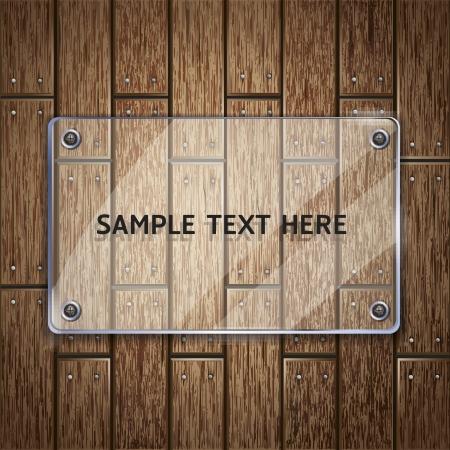 puertas de cristal: Textura de fondo de madera y vidrio marco vector ilustrador