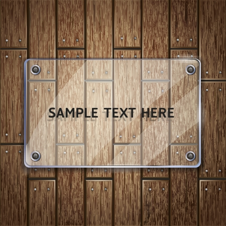 empty plate: Wooden texture background and glass frame  vector illustrator