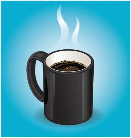 Black coffee cup on blue background Stock Vector - 18759241