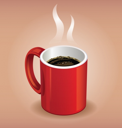 Red coffee cup on brown background Vector