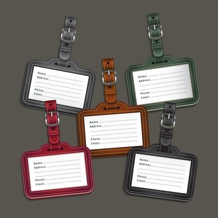 maletas de viaje: Etiquetas de equipaje de cuero etiquetas ilustraci�n vectorial