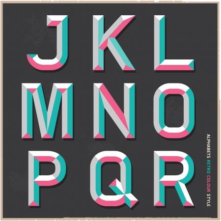 Alphabet vintage colour style illustration  Illustration
