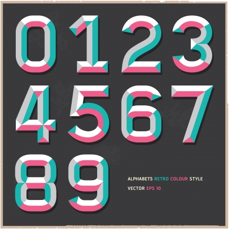 english: Alphabet numbers vintage colour style illustration  Illustration