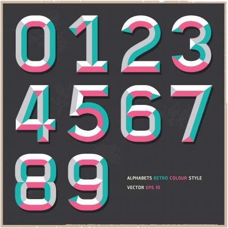 numeros: N�meros Alfabeto del ejemplo del vintage estilo de color