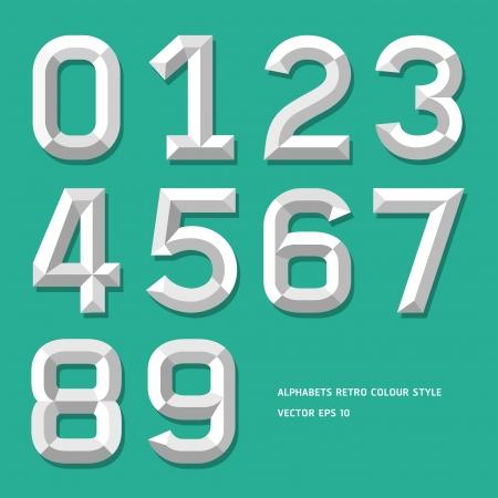 numeros: Modern n�mero alfabeto estilo de ilustraci�n de color