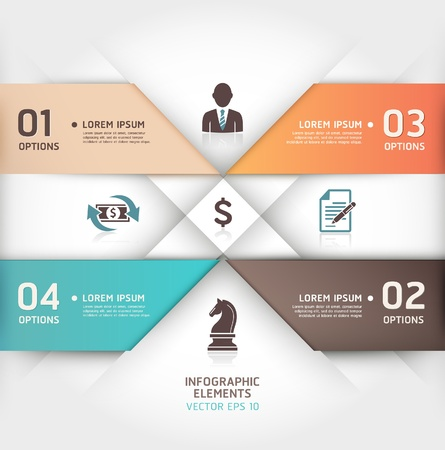 Abstract business steb origami style options banner illustration  can be used for workflow layout, diagram, number options, step up options, web design, infographics  Vector