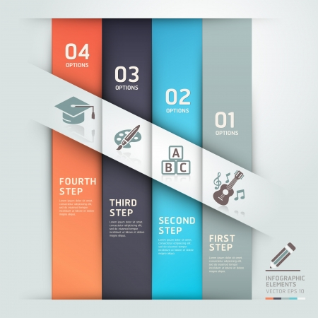 options: Modern education step options template origami style  Vector illustration  can be used for workflow layout, diagram, web design, infographics, banner template  Illustration