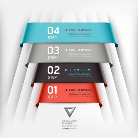 Abstract infographics template ribbon style  Vector illustration  can be used for workflow layout, diagram, number options, step up options, banner, web design Stock Vector - 19020775