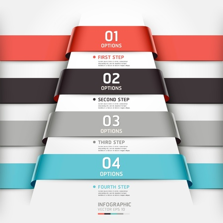 Abstract infographics template ribbon style  Vector illustration  can be used for workflow layout, diagram, number options, step up options, banner, web design Stock Vector - 19031955