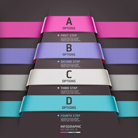 options: Abstract infographics template ribbon style  Vector illustration  can be used for workflow layout, diagram, number options, step up options, banner, web design Illustration
