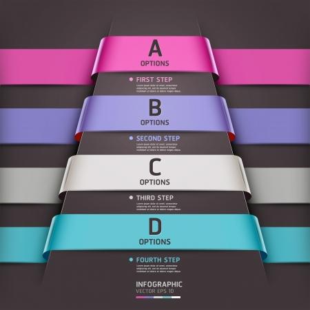 pesta�as: Infograf�a Resumen plantilla cinta estilo de ilustraci�n vectorial se puede utilizar para el dise�o del flujo de trabajo, diagrama, opciones num�ricas, incrementar las opciones, bandera, dise�o de p�ginas web