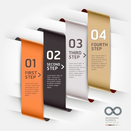 graphics design: Abstract infographics template ribbon style  Vector illustration  can be used for workflow layout, diagram, number options, step up options, banner, web design Illustration