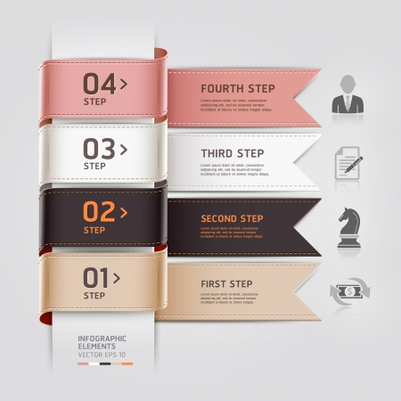 options: Abstract business infographics template ribbon style  Vector illustration  can be used for workflow layout, diagram, number options, step up options, banner, web design
