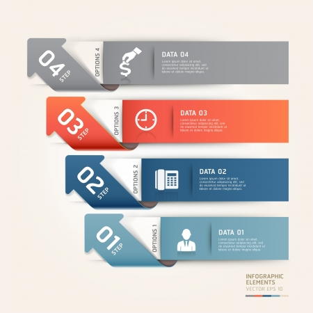 web design element: Modern arrow business steb options banner.  illustration. can be used for workflow layout, diagram, number options, step up options, web template, infographics.