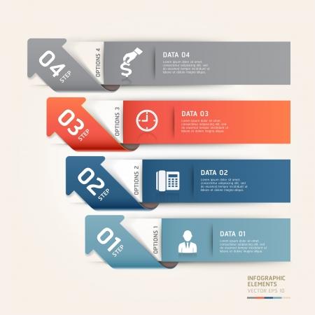 boton flecha: Modern Flecha steb opciones bandera. ilustraci�n. se puede utilizar para el dise�o del flujo de trabajo, diagrama, opciones num�ricas, incrementar las opciones, plantilla web, infograf�a.
