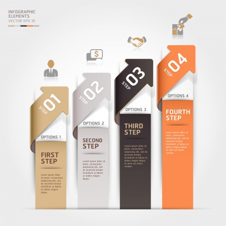 web design template: Modern arrow business steb options banner.  illustration. can be used for workflow layout, diagram, number options, step up options, web template, infographics.