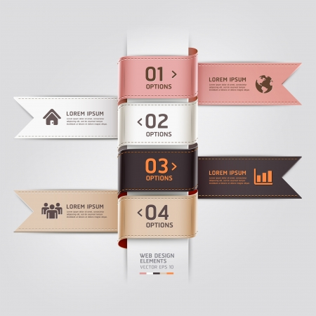 Modern web design template ribbon style.  illustration. can be used for workflow layout, diagram, number options, step up options, web template, infographics Vector