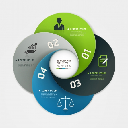 judgement: Modern business circle origami style options banner  Vector illustration  can be used for workflow layout, diagram, number options, step up options, web design, infographics