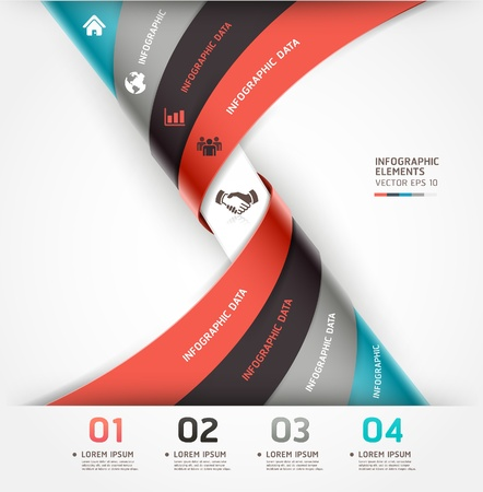 origami pattern: Abstract spiral infographics options banner  Vector illustration  can be used for workflow layout, diagram, number options, web design