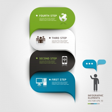 Modern infographics bubble speech template style  Vector illustration  can be used for workflow layout, diagram, number options, step up options, web design, banner template  Illustration