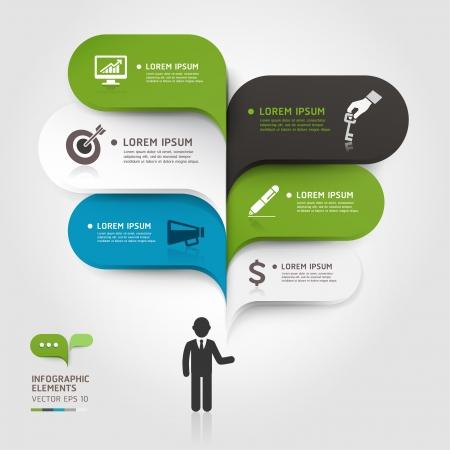 현대 비즈니스의 거품 음성 템플릿 스타일 벡터 그림은 워크 플로우 레이아웃을 사용할 수 있습니다, 도표, 수 옵션, 옵션, 웹 디자인, 배너 템플릿, 인