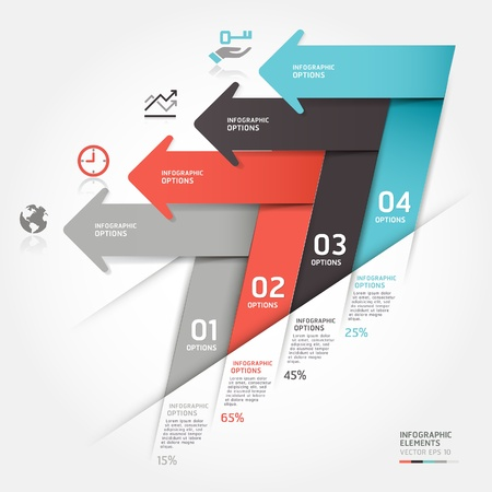 option key: Modern business arrow origami style step up options illustration  can be used for workflow layout, diagram, number options, web design, infographics