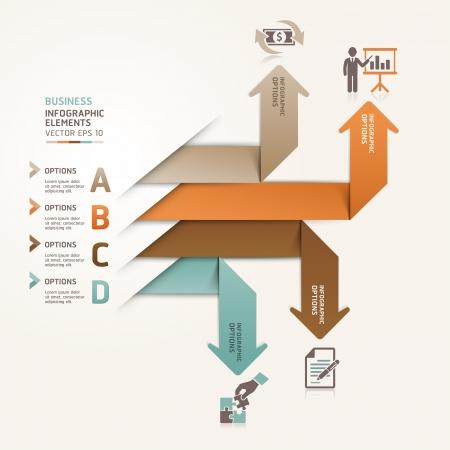 boton flecha: Modern Flecha steb opciones ilustraci�n de la bandera se puede utilizar para el dise�o del flujo de trabajo, diagrama, opciones num�ricas, incrementar las opciones, plantilla web, infograf�a Vectores