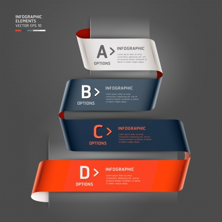 Modern step up options ribbon style illustration  can be used for workflow layout, diagram, number options, step up options, banner, web design, infographics template  Vector