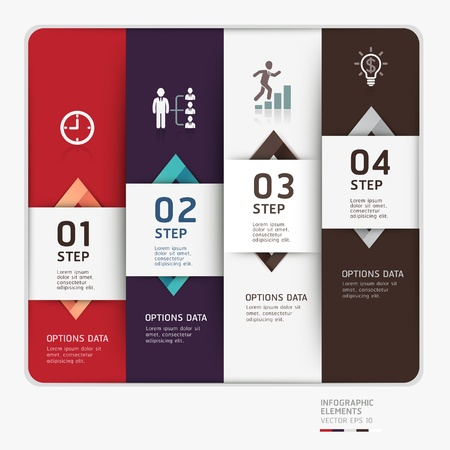Modern business step up options template illustration  can be used for workflow layout, diagram, number options, web design, infographics  Vector