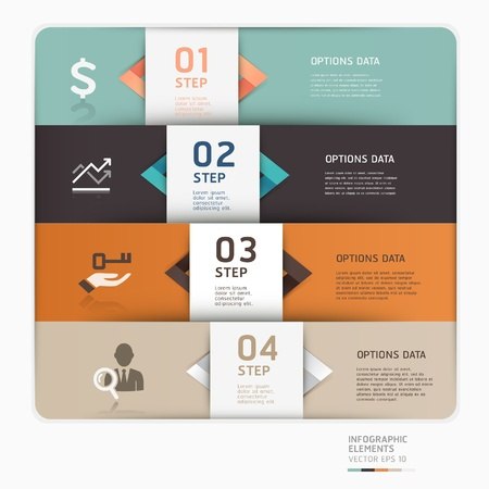 Modern business step up options template illustration  can be used for workflow layout, diagram, number options, web design, infographics  Illustration