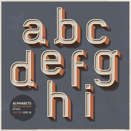 Alphabet retro colour style illustration