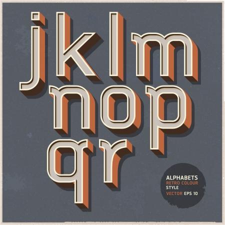 alphabet graffiti: Alfabeto retr? colore stile illustrazione vettoriale