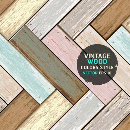 wooden doors: Madera de la vendimia de color textura de fondo ilustraci�n Vectores
